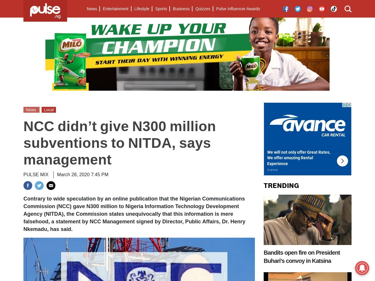 NCC didn't give N300 million subventions to NITDA, says management