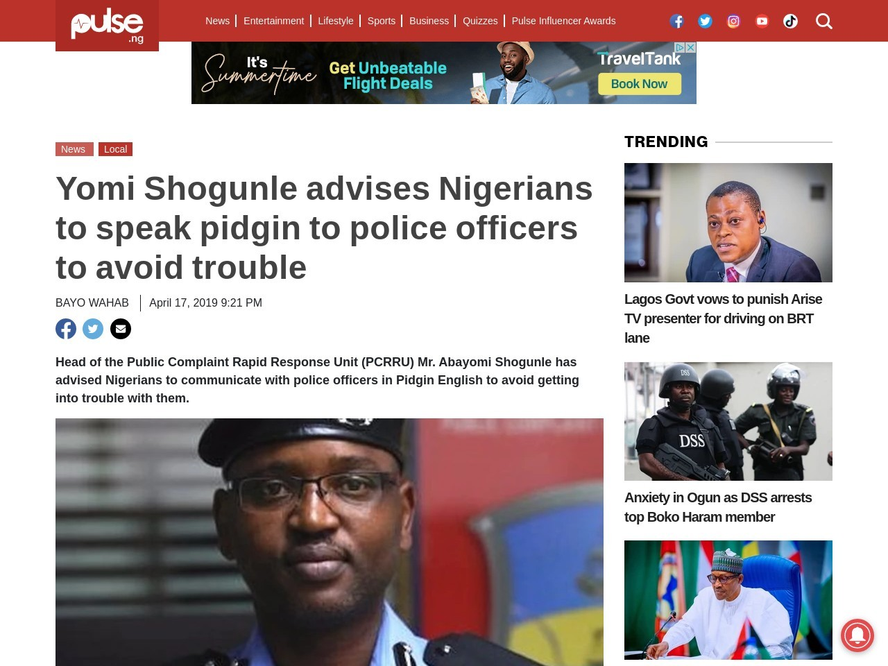 Yomi Shogunle advises Nigerians to speak pidgin to police officers to avoid trouble