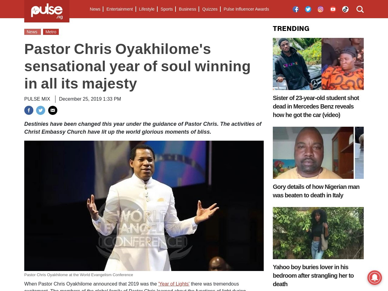 Pastor Chris Oyakhilome's sensational year of soul winning in all its majesty