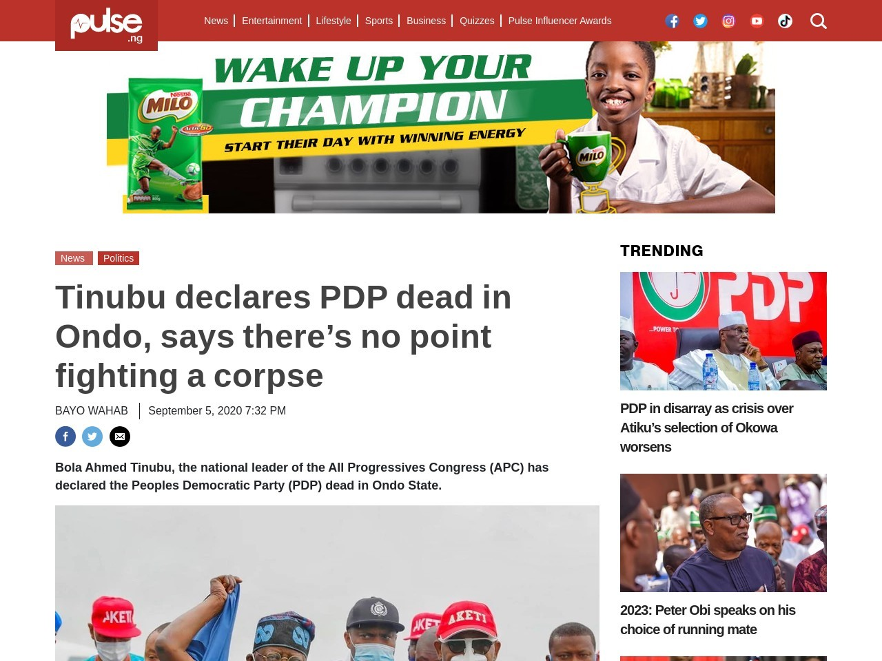 Tinubu declares PDP dead in Ondo, says there's no point fighting a corpse