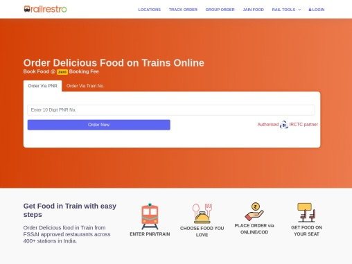 Order Delicious Food On Trains Online | IRCTC-Authorized E-Catering Partner | RailRestro