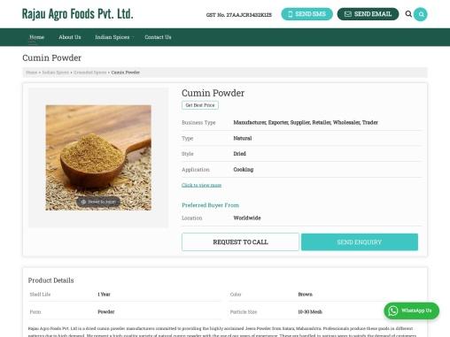 Dried Cumin Powder Manufacturers