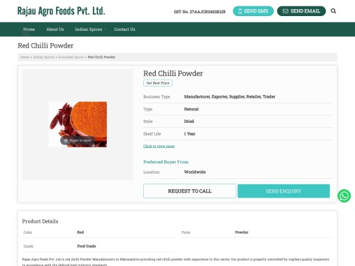 Red Chilli Powder Suppliers in India