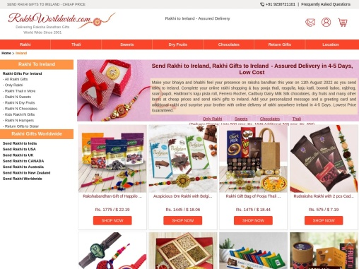 Send Outstanding Gifts & Designer Rakhis Online at a Cheap Price to Ireland