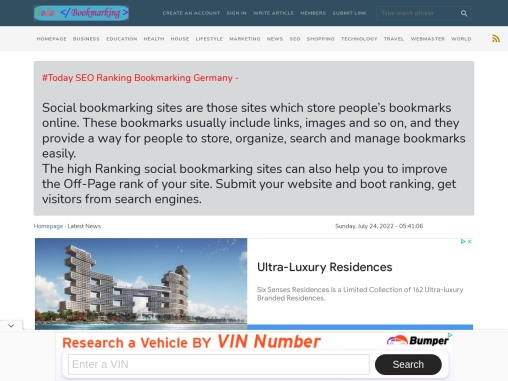 Today Ranking SEO Links article Germany Bookmarking
