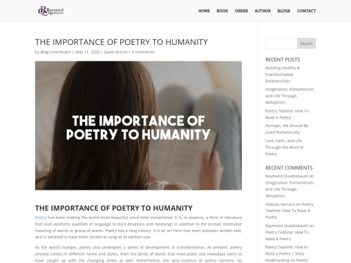 The Importance of Poetry to Humanity by Raymond Quattlebaum
