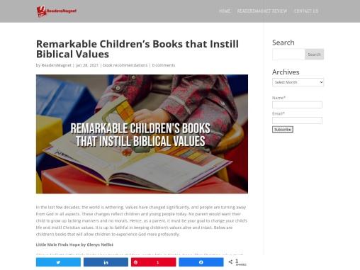 Remarkable Children's Books that Instill Biblical Values