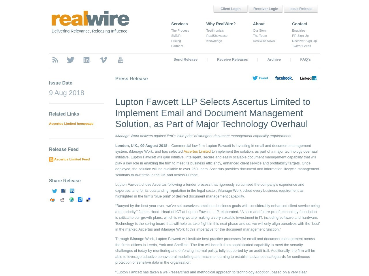 Lupton Fawcett LLP Selects Ascertus Limited to Implement Email and Document Management Solution, as Part of …