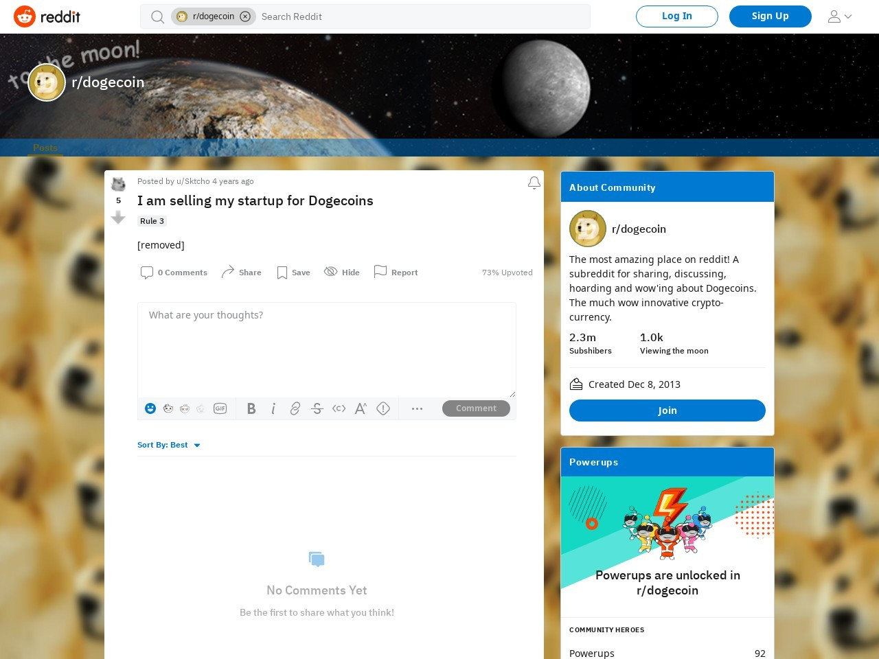 I am selling my startup for Dogecoins