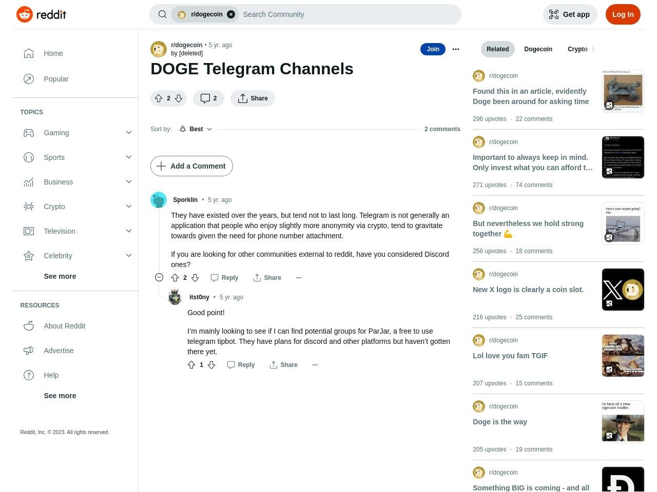 DOGE Telegram Channels