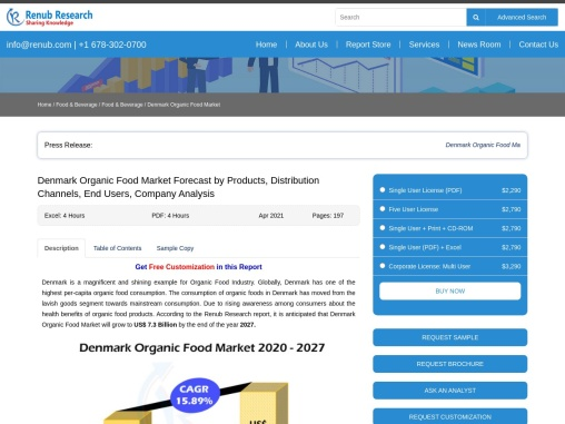 Denmark Organic Food Market By Products, Comapnies, Forecast By 2027