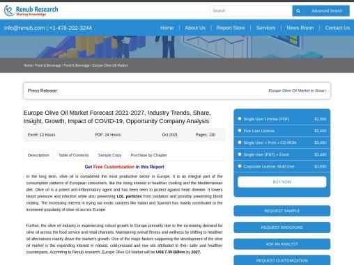 Europe Olive Oil Market Industry Trends, Forecast 2021-2027