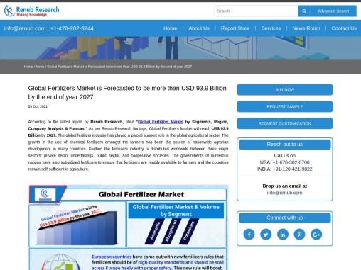 Global Fertilizers Market will be USD 93.9 Billion by 2027