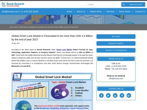 Global Smart Lock Market will be USD 4.4 Billion by 2027