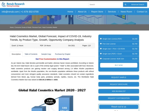 Halal Cosmetics Market, Impact of COVID-19, by Product Type, Companies, Global Forecast by 2027