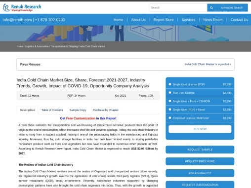 India Cold Chain Market Size, Share, Forecast 2021-2027