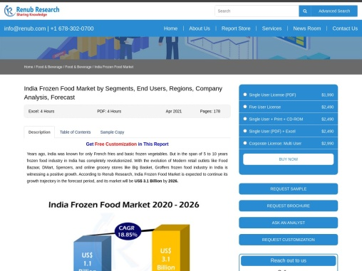 India Frozen Food Market by Segments, Companies, Forecast By 2026