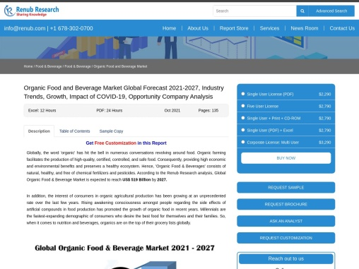 Organic Food and Beverage Market Size, Global Forecast 2021-2027