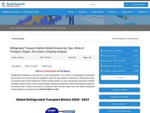 Refrigerated Transport Market By Type, Region,Companies, Forecast by 2027