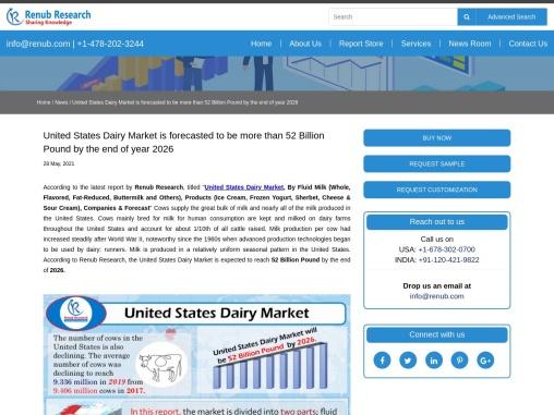 United States Dairy Market Will Be 52 Billion Pound by 2026