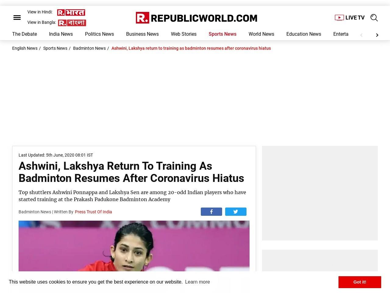 Ashwini, Lakshya return to training as badminton resumes after coronavirus hiatus – Republic World