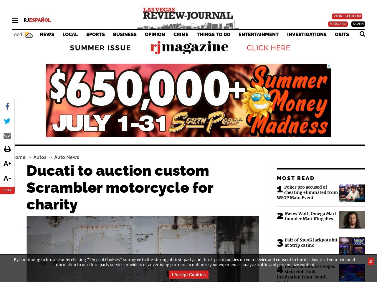Ducati to auction custom Scrambler motorcycle for charity