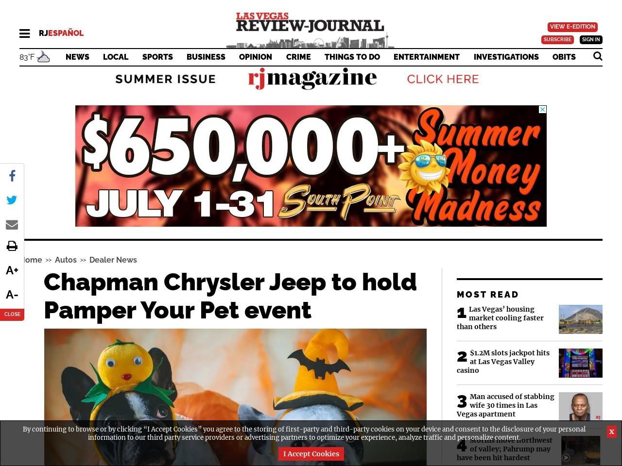 Chapman Chrysler Jeep to hold Pamper Your Pet event