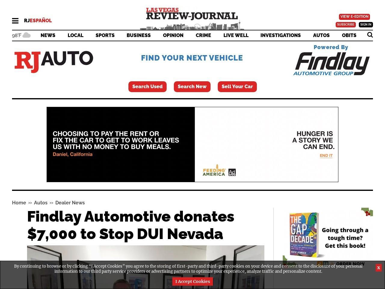 Findlay Automotive donates $7,000 to Stop DUI Nevada
