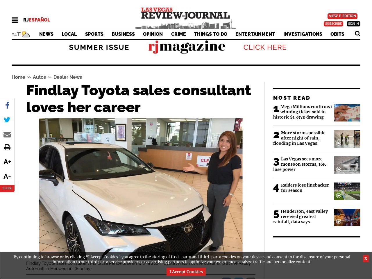 Findlay Toyota sales consultant loves her career