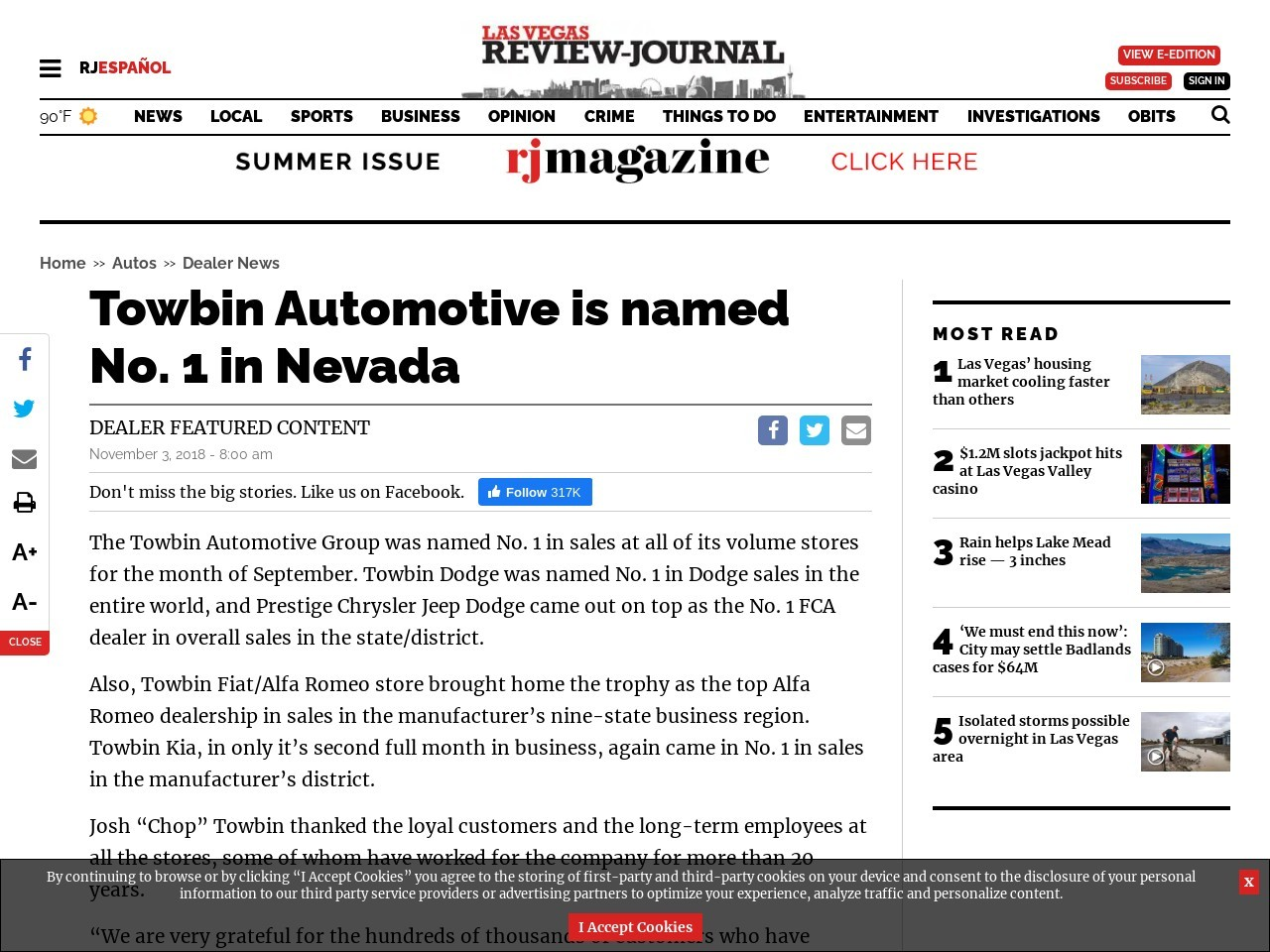 Towbin Automotive is named No. 1 in Nevada