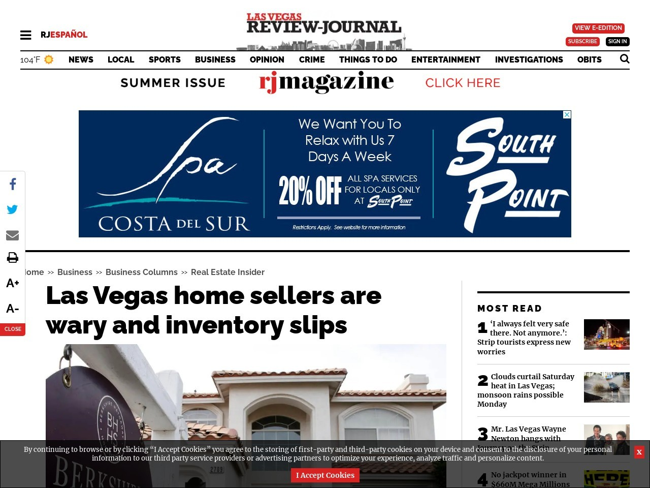 Las Vegas home sellers are wary and inventory slips