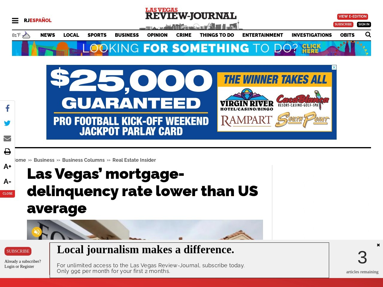 Las Vegas' mortgage-delinquency rate lower than US average