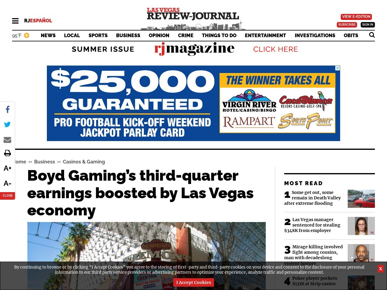 Boyd Gaming's third-quarter earnings boosted by Las Vegas economy