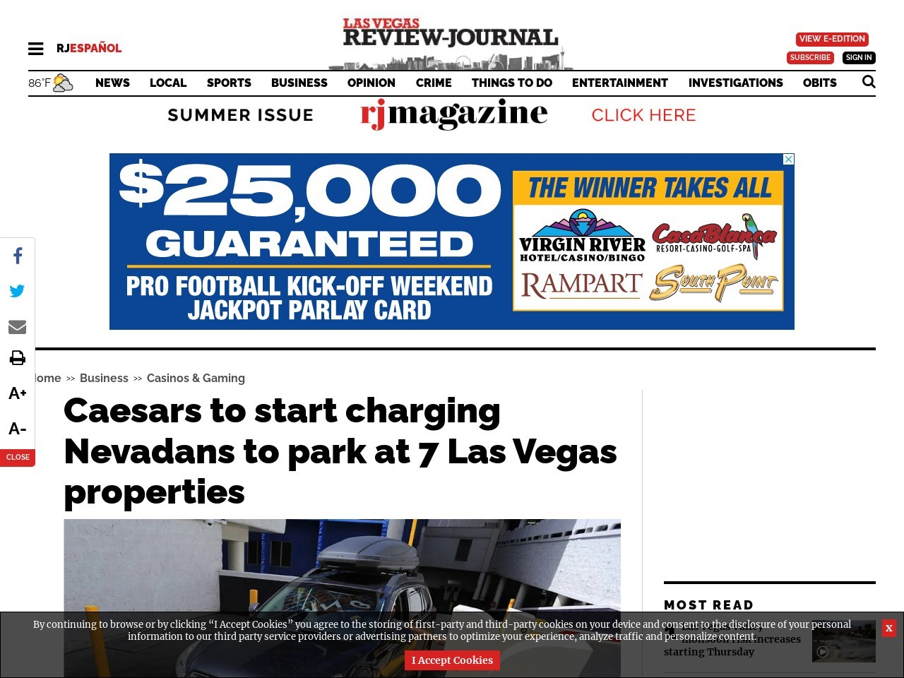 Caesars to start charging Nevadans to park at 7 Las Vegas properties