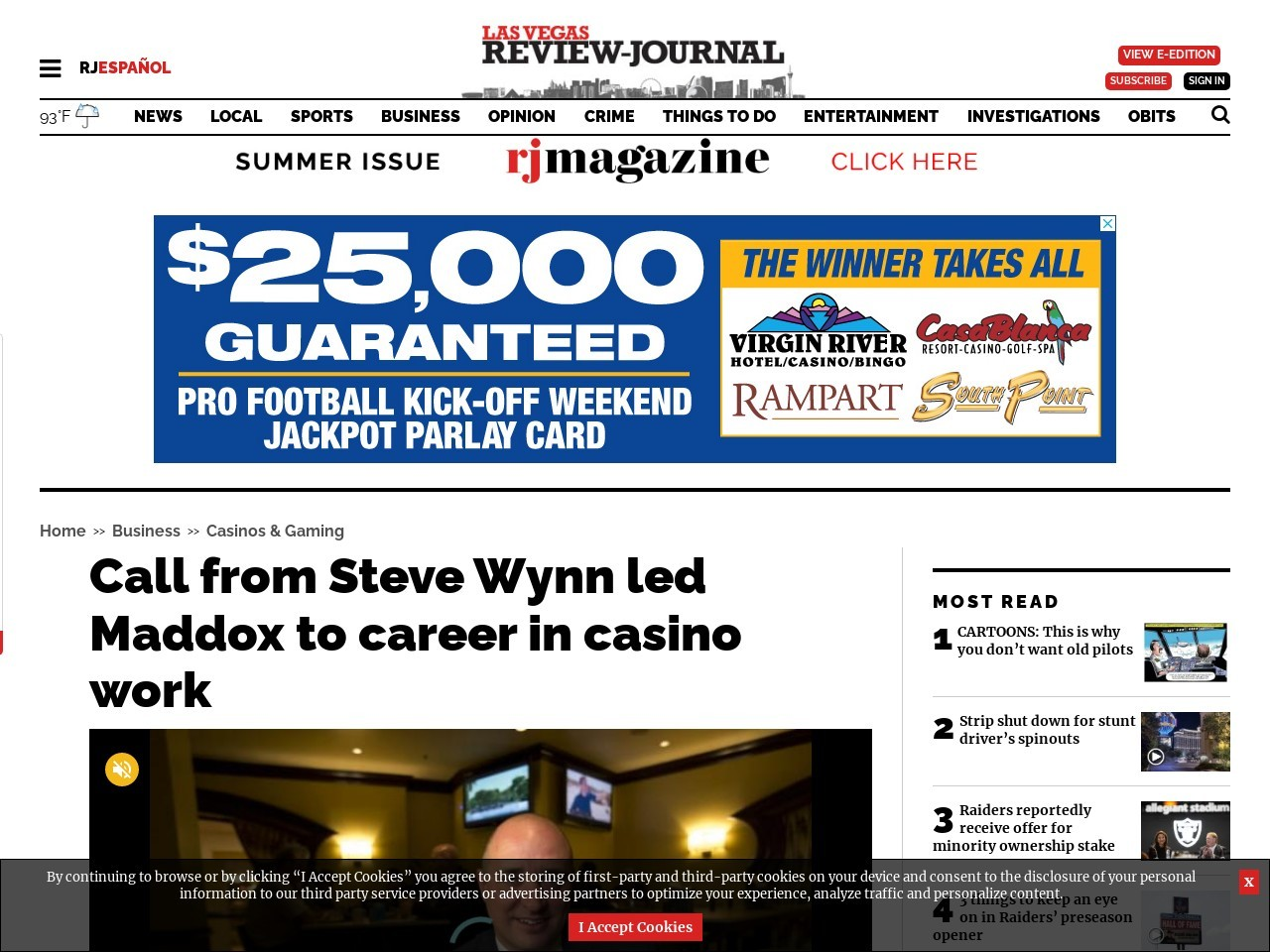 Call from Steve Wynn led Maddox to career in casino work