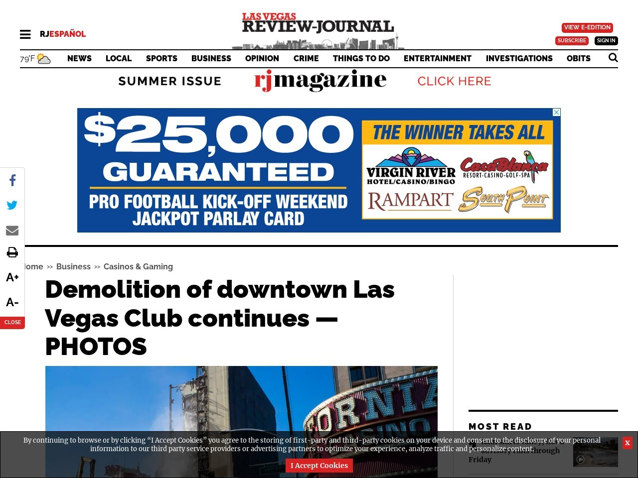 Demolition of downtown Las Vegas Club continues — PHOTOS