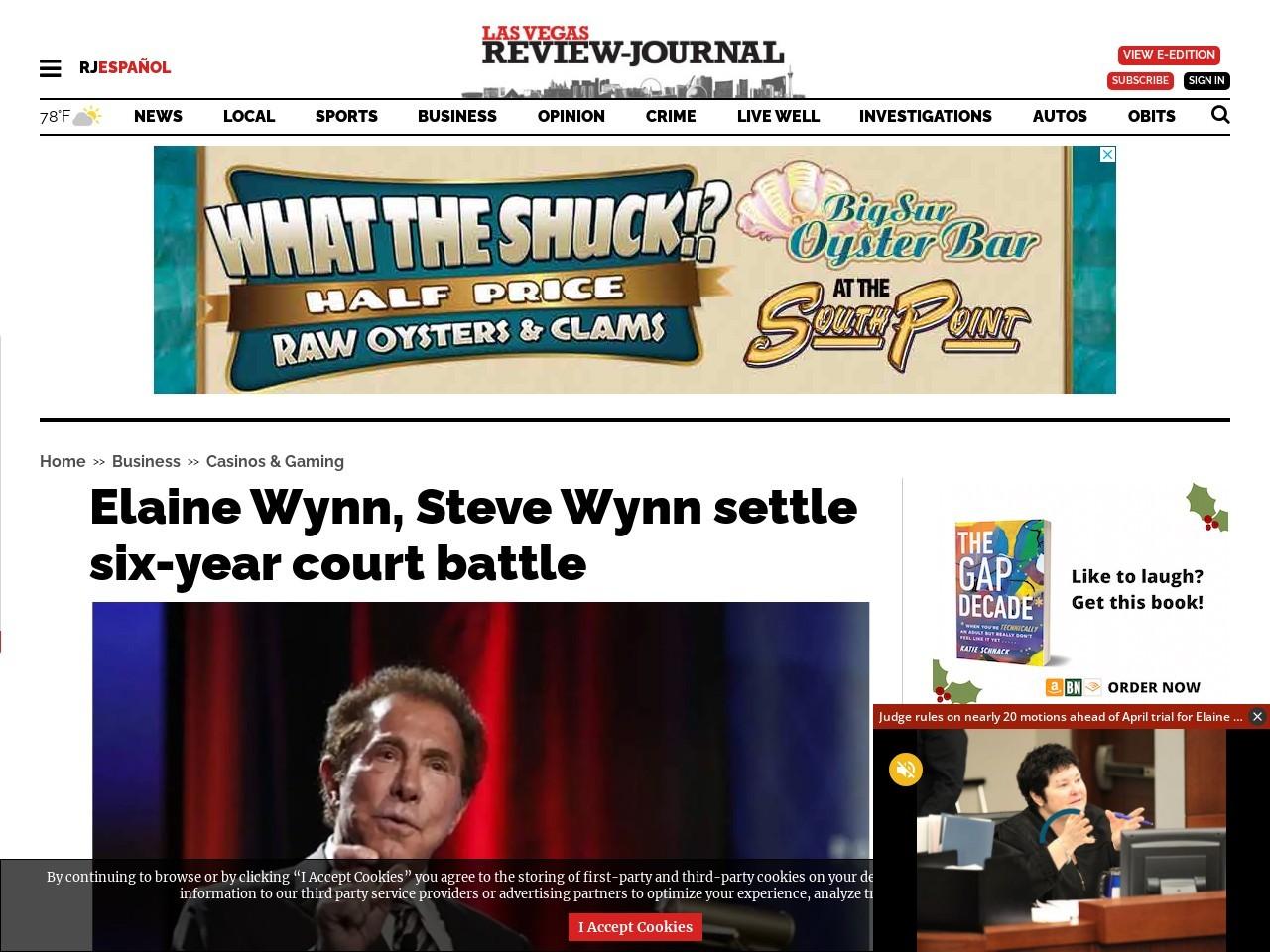 Elaine Wynn, Steve Wynn settle six-year court battle