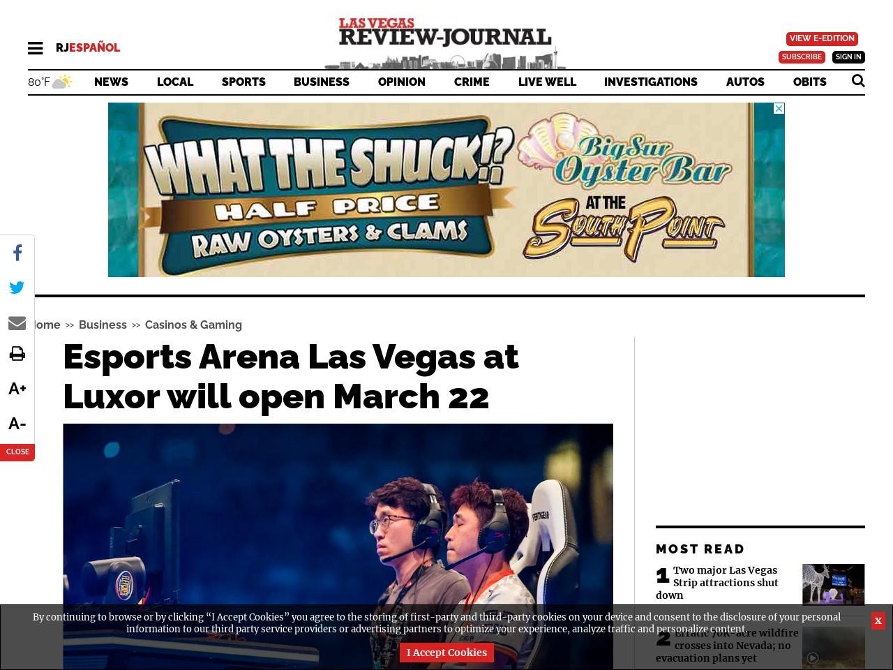 Esports Arena Las Vegas at Luxor will open March 22