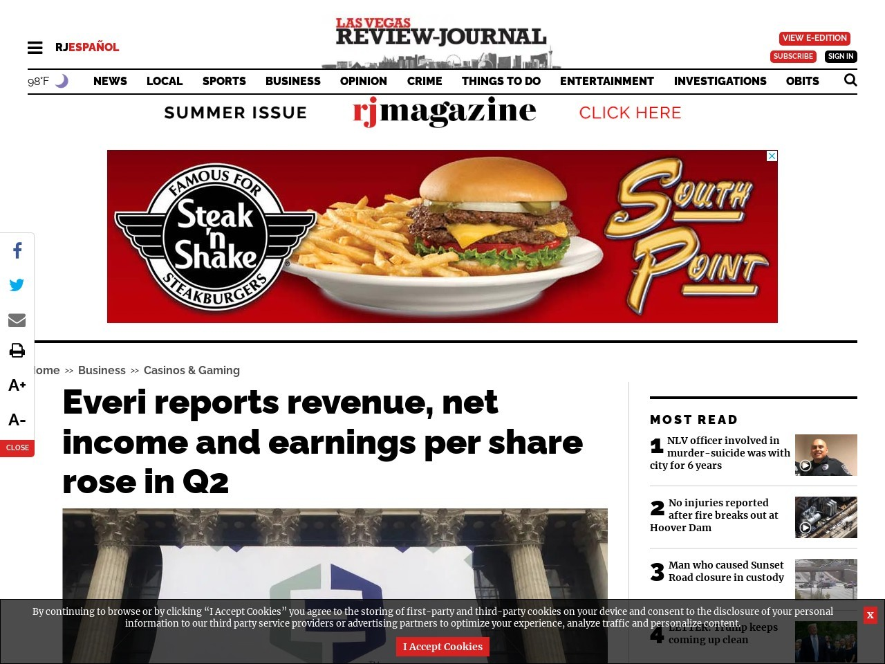 Everi reports revenue, net income and earnings per share rose in Q2