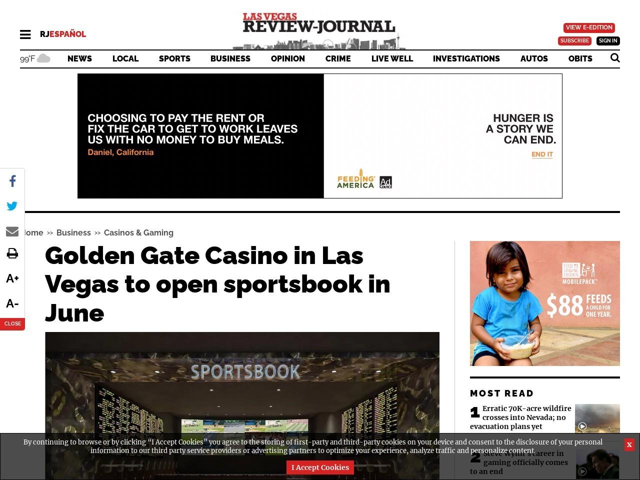 Golden Gate Casino expected to open sportsbook in June