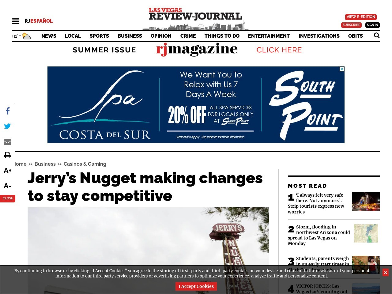 Jerry's Nugget making changes to stay competitive with other casinos