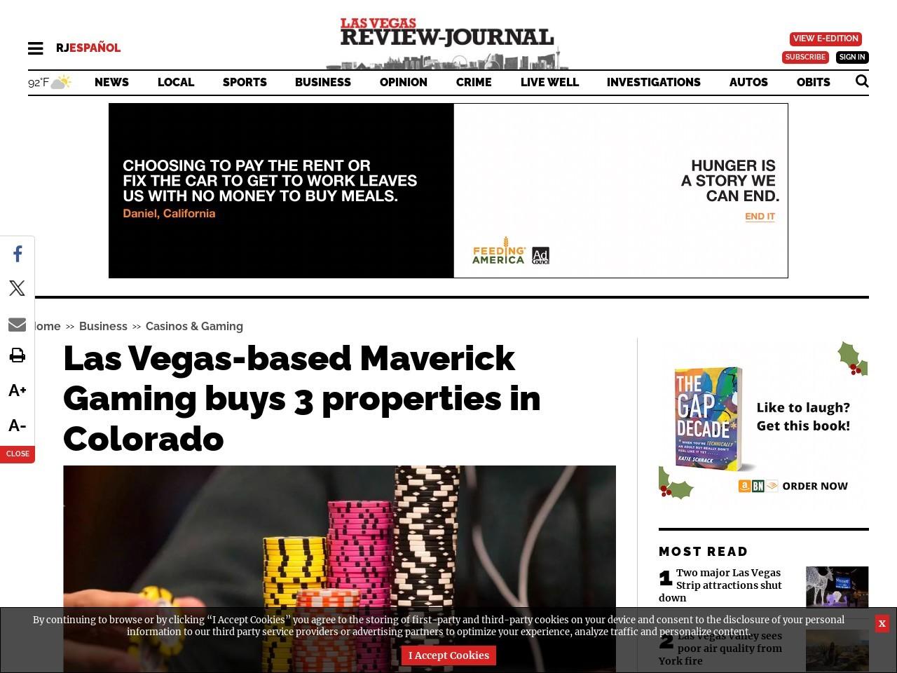Las Vegas-based Maverick Gaming buys 3 properties in Colorado