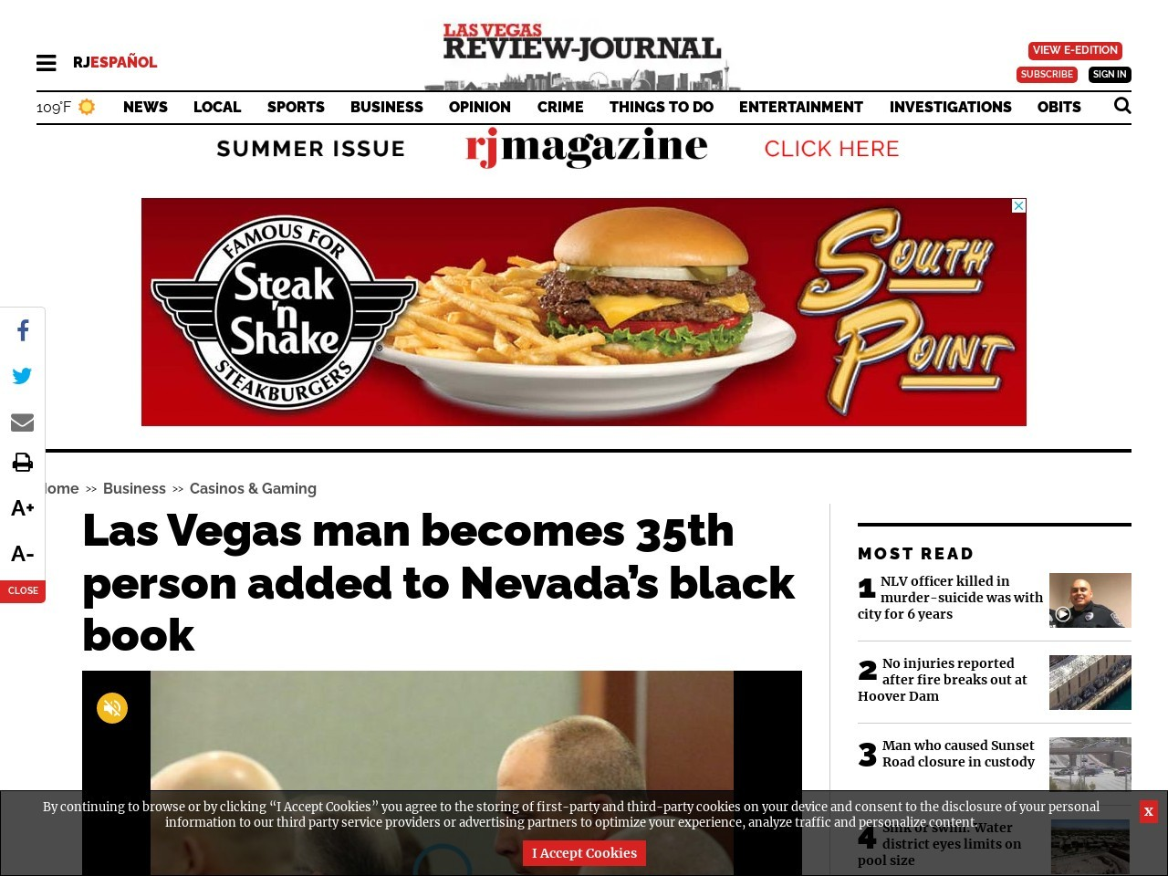Las Vegas man becomes 35th person added to Nevada's black book