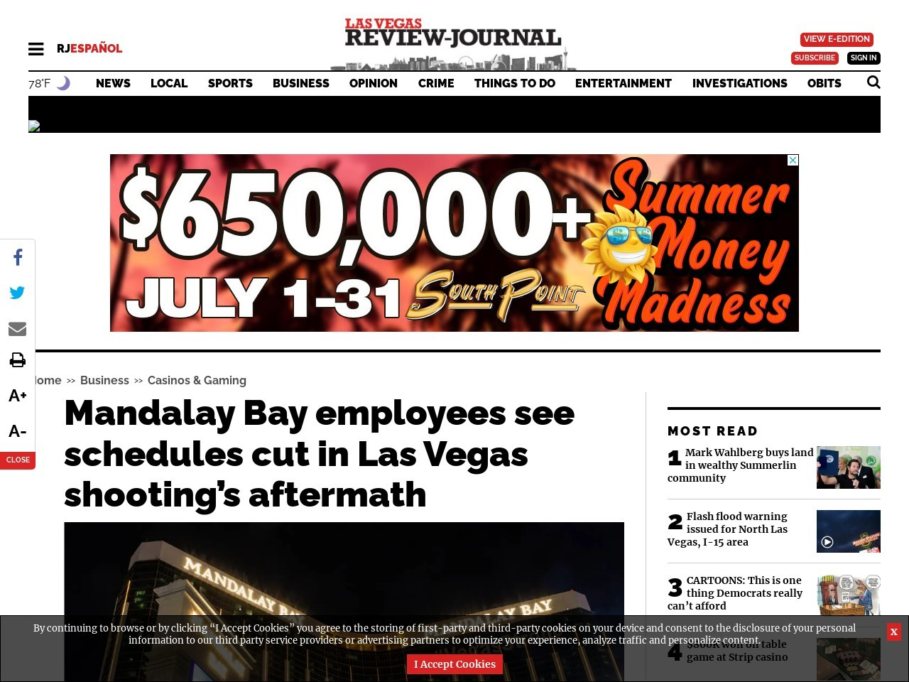 Mandalay Bay employees see schedules cut in Las Vegas shooting's aftermath