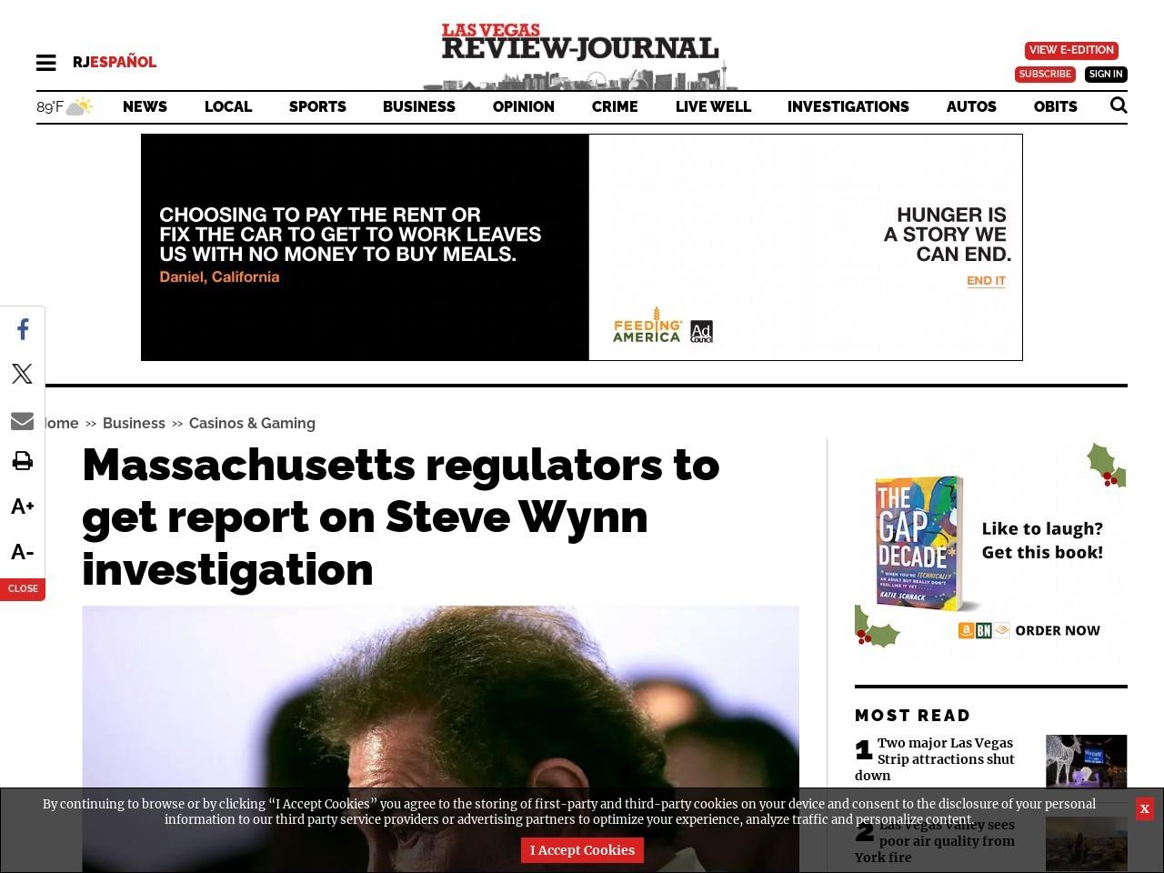 Massachusetts regulators to get report on Steve Wynn investigation