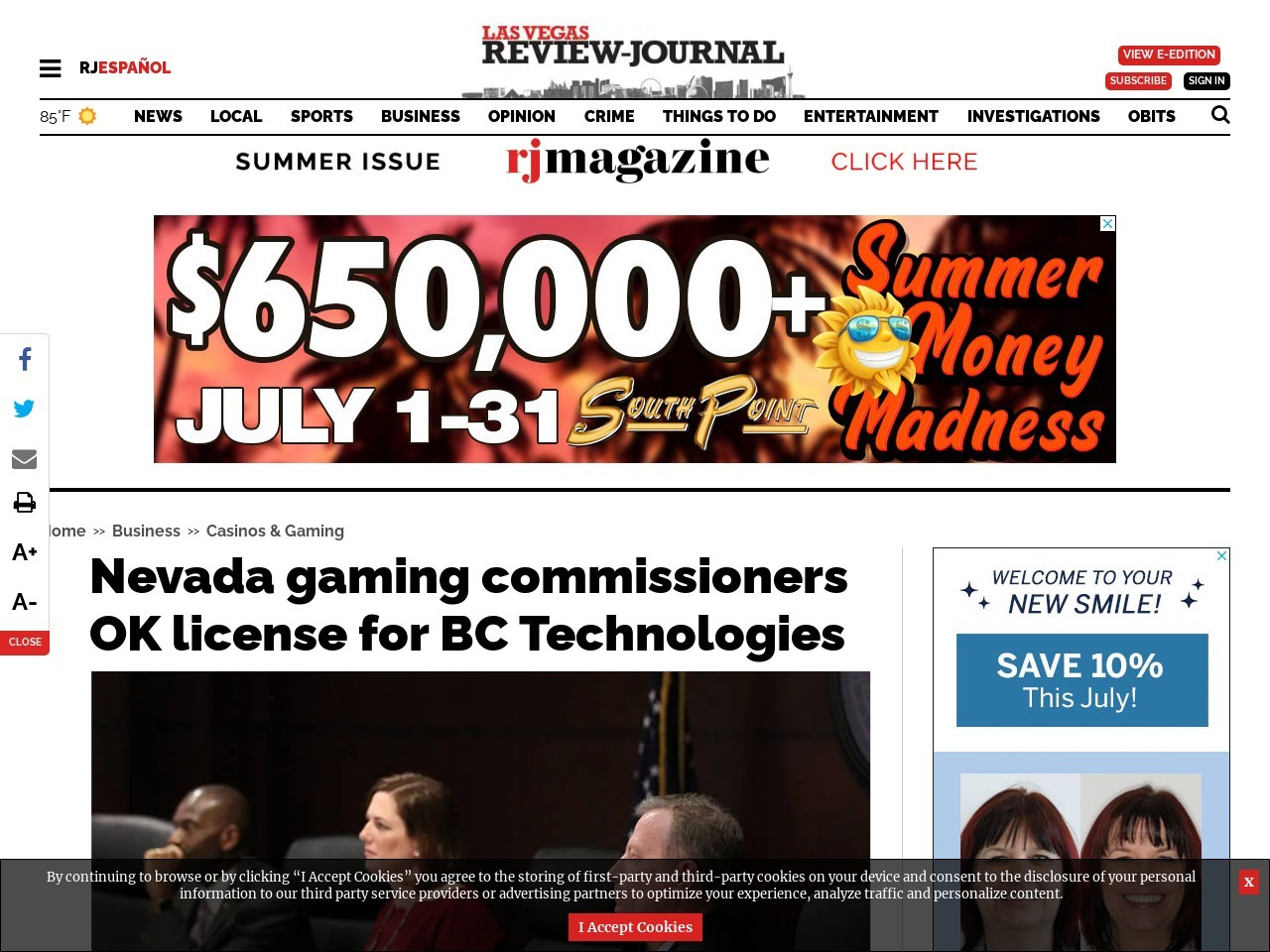 Nevada gaming commissioners OK license for BC Technologies