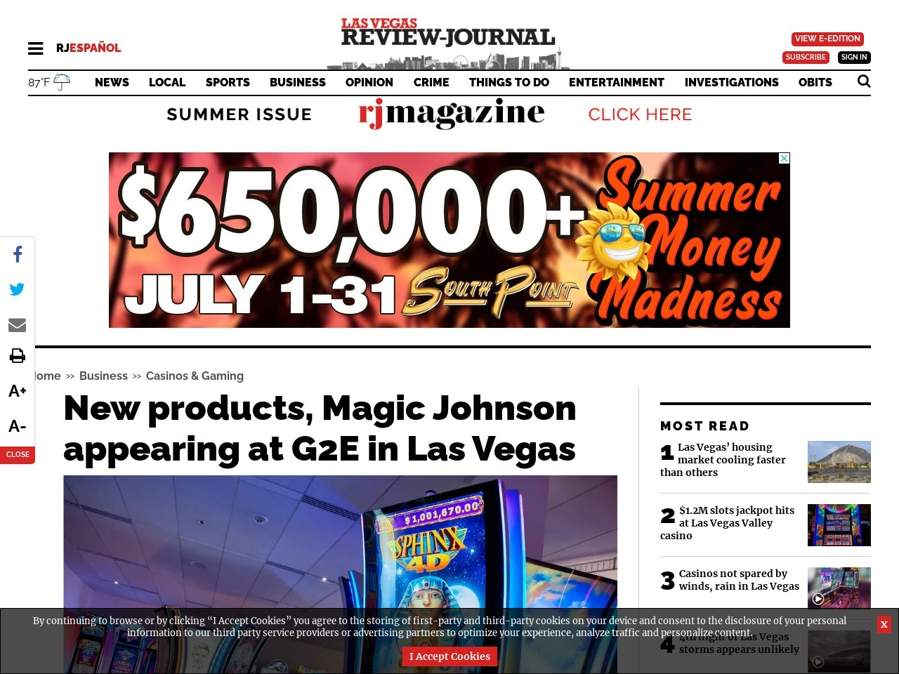 New products, Magic Johnson appearing at G2E in Las Vegas