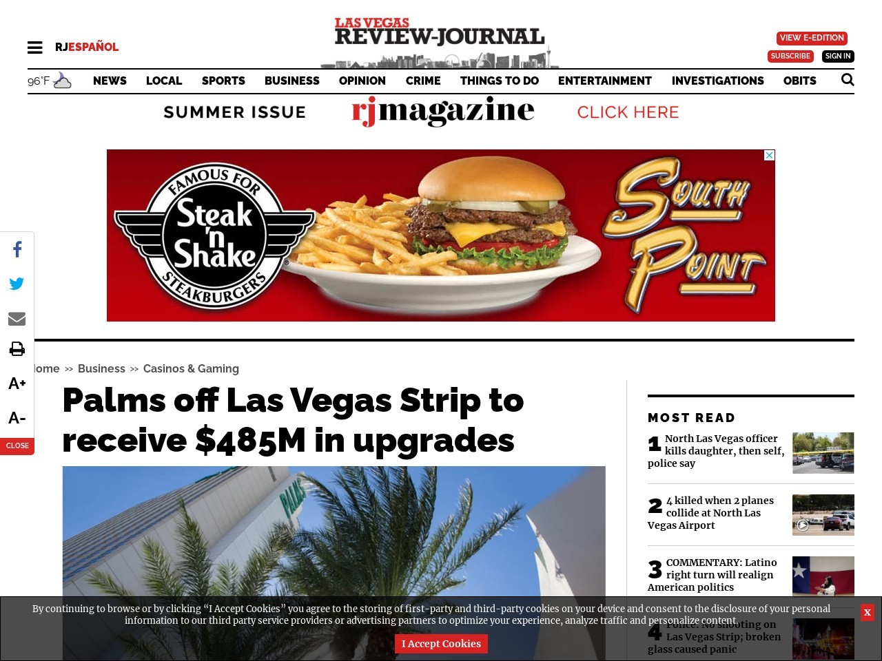 Palms off Las Vegas Strip to receive $485M in upgrades