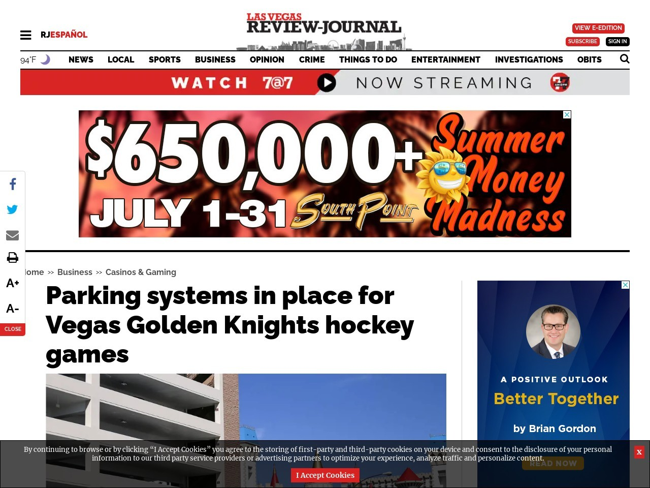 Parking systems in place for Vegas Golden Knights hockey games