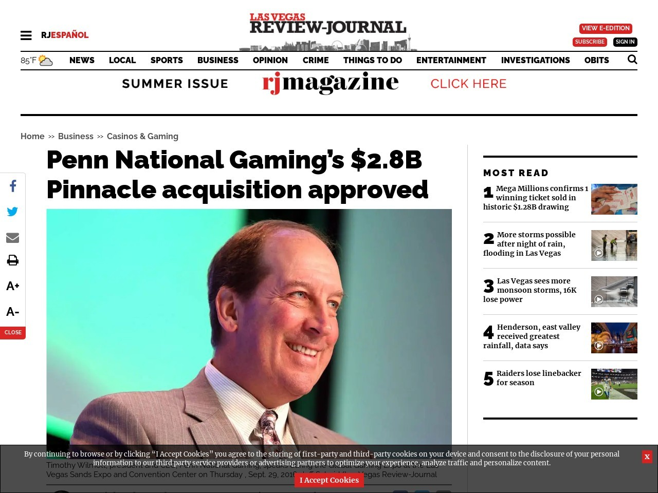Penn National Gaming's $2.8B Pinnacle acquisition approved